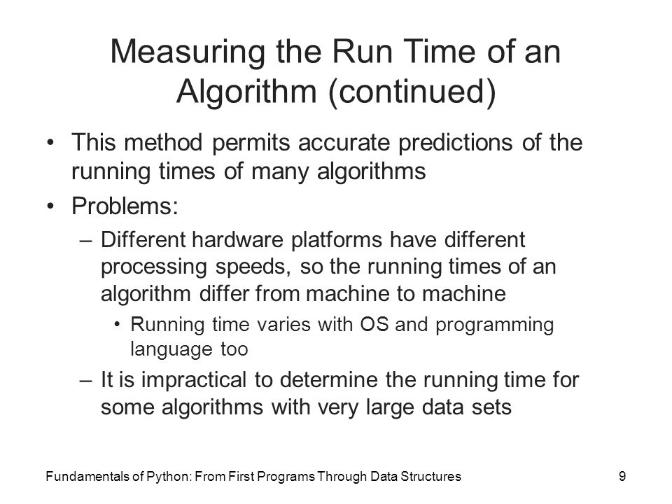 Measuring the Run Time of an Algorithm (continued)
