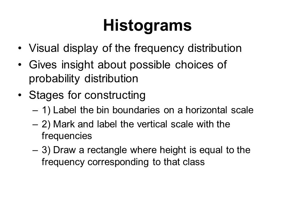 Histograms Visual display of the frequency distribution