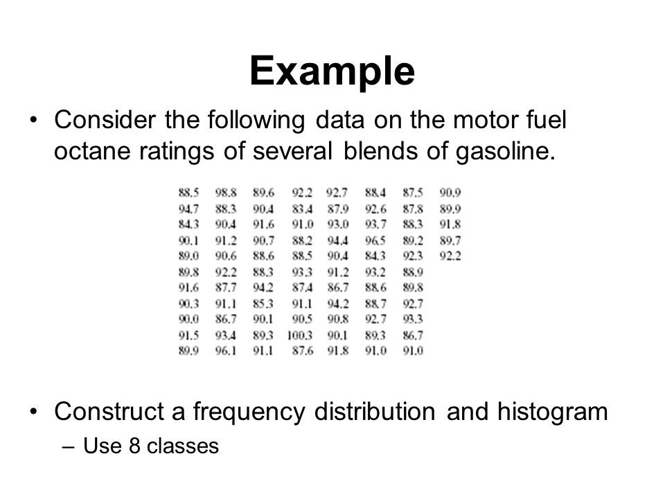 Example Consider the following data on the motor fuel octane ratings of several blends of gasoline.