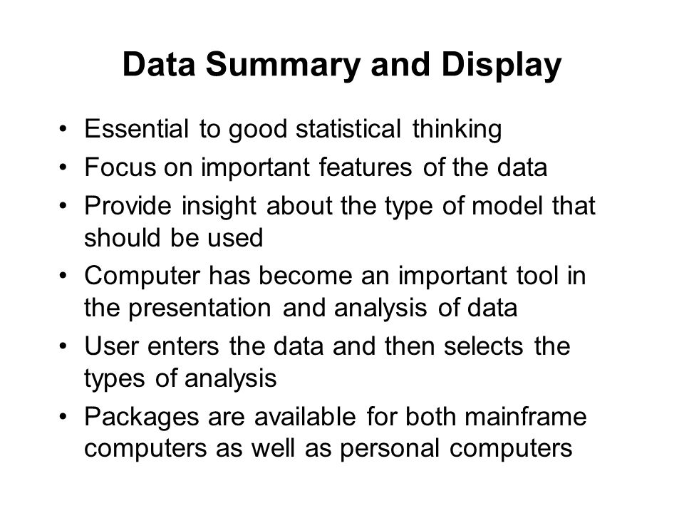 Data Summary and Display