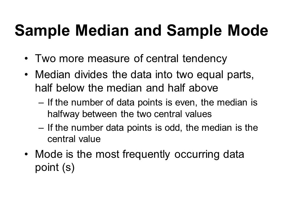 Sample Median and Sample Mode