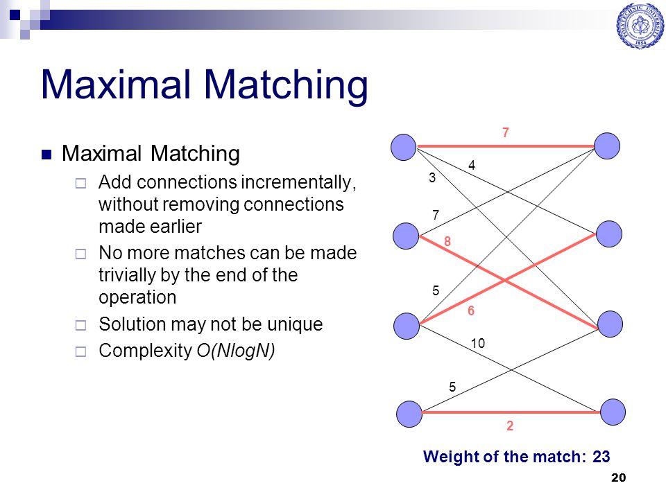 Maximal Matching Maximal Matching