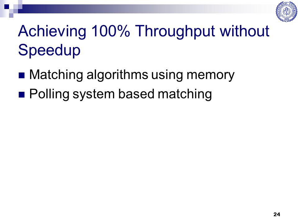 Achieving 100% Throughput without Speedup
