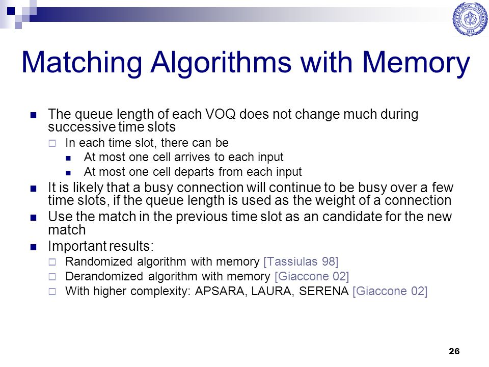 Matching Algorithms with Memory