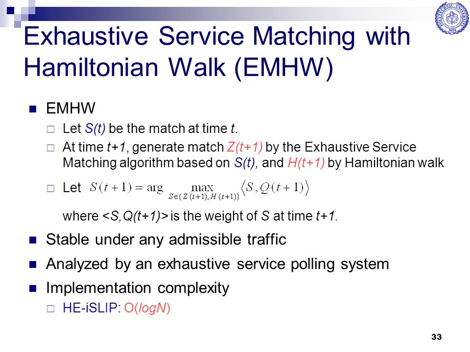 Exhaustive Service Matching with Hamiltonian Walk (EMHW)