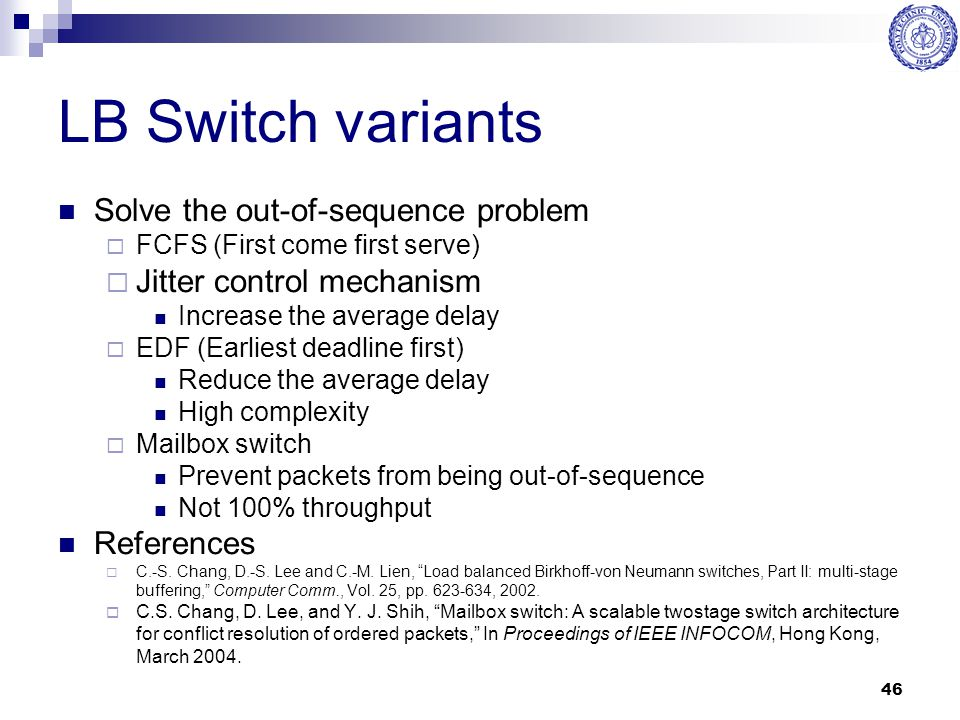 LB Switch variants Solve the out-of-sequence problem