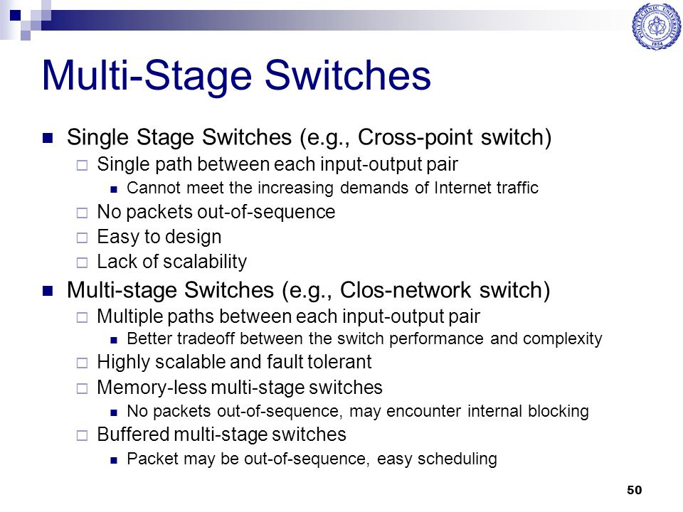 Multi-Stage Switches Single Stage Switches (e.g., Cross-point switch)