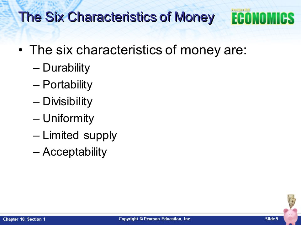 The Six Characteristics of Money