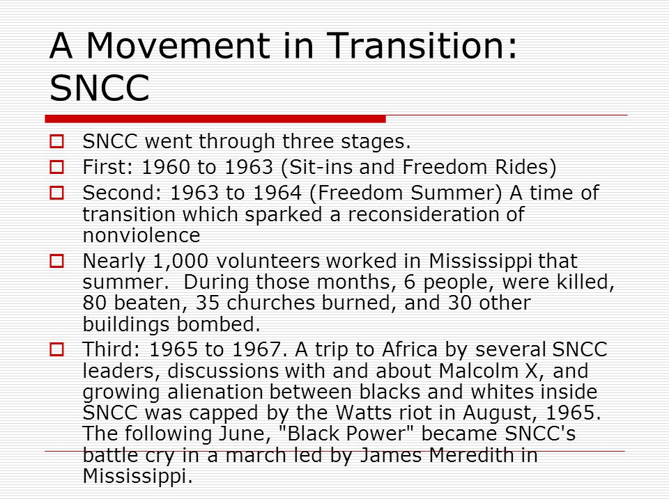 A Movement in Transition: SNCC