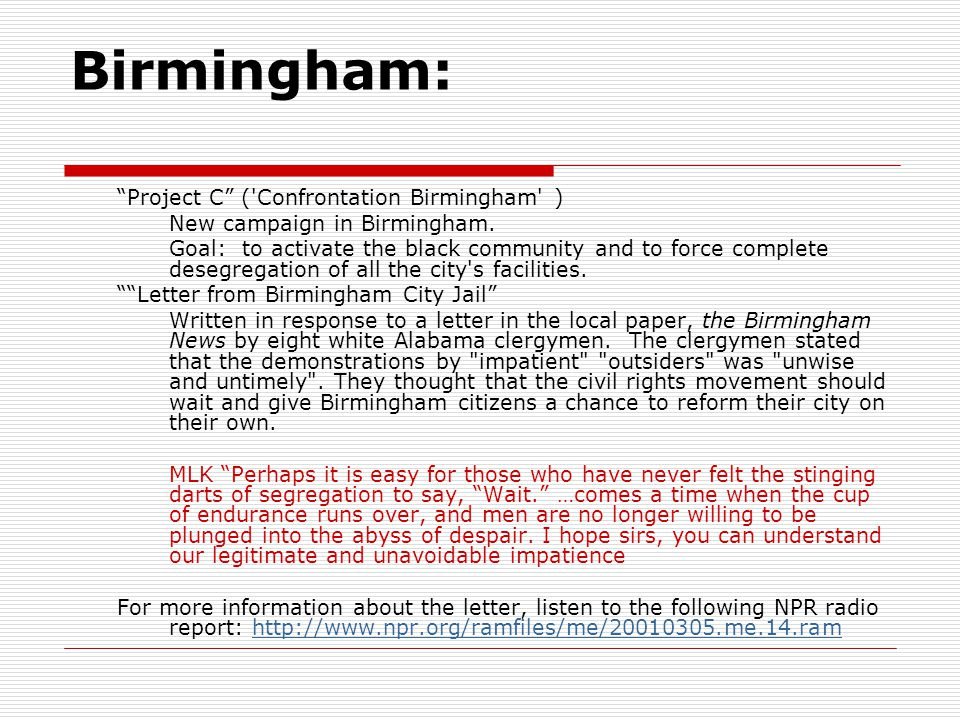 Birmingham: Project C ( Confrontation Birmingham )