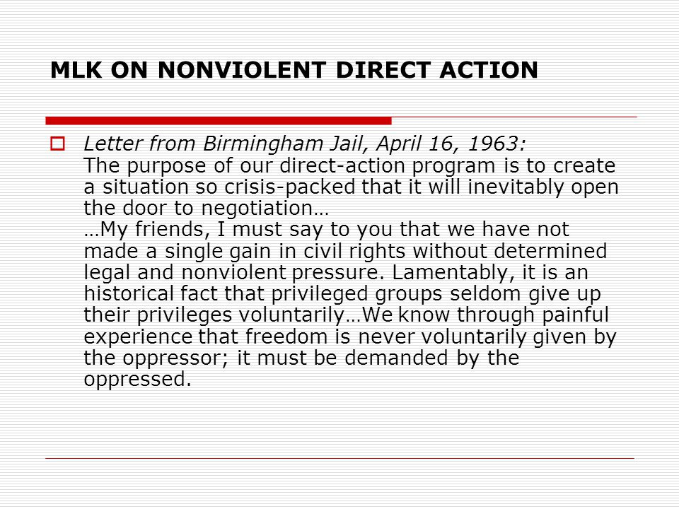 MLK ON NONVIOLENT DIRECT ACTION