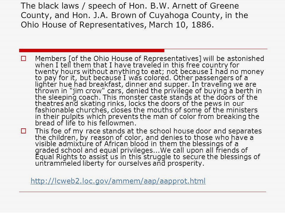The black laws / speech of Hon. B. W. Arnett of Greene County, and Hon