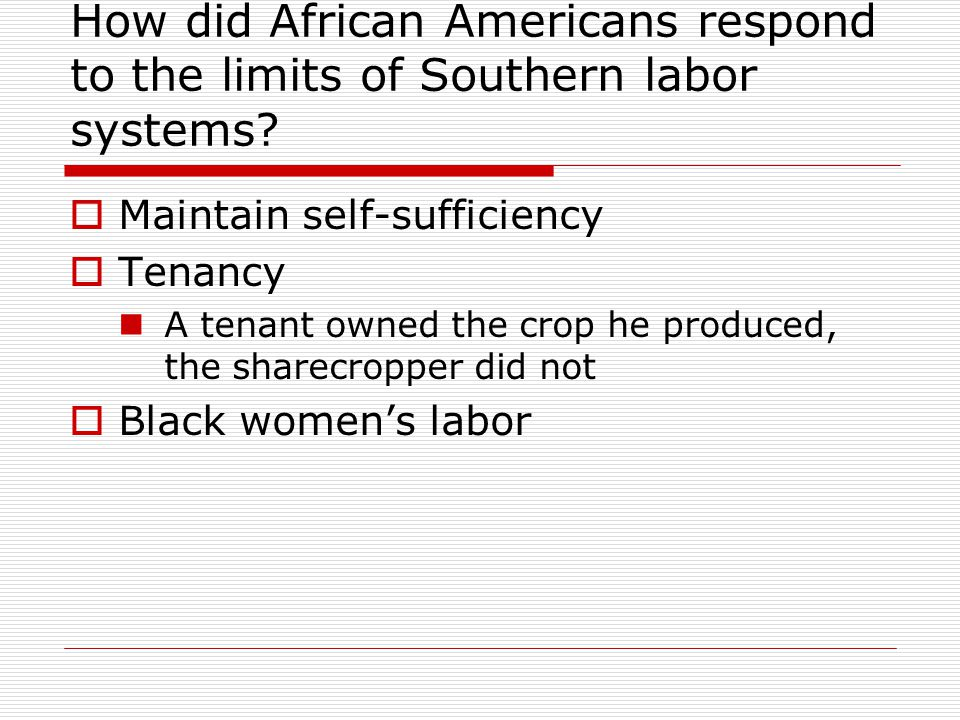 How did African Americans respond to the limits of Southern labor systems