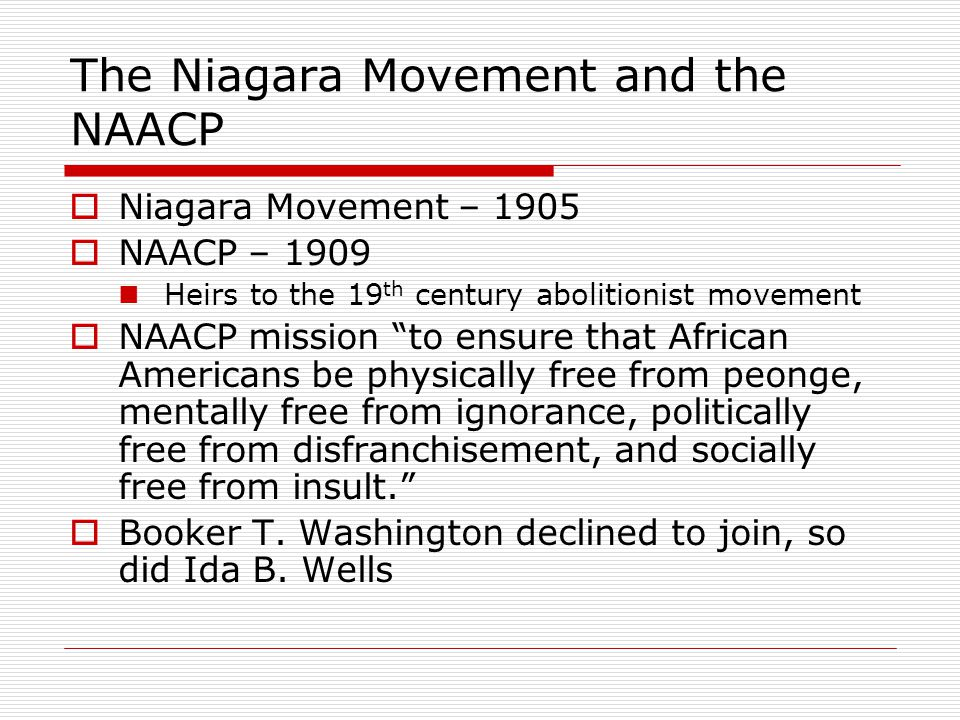 The Niagara Movement and the NAACP