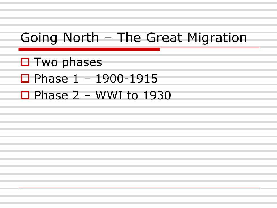 Going North – The Great Migration