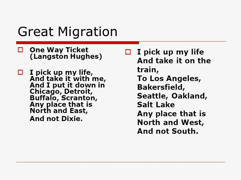Great Migration One Way Ticket (Langston Hughes)