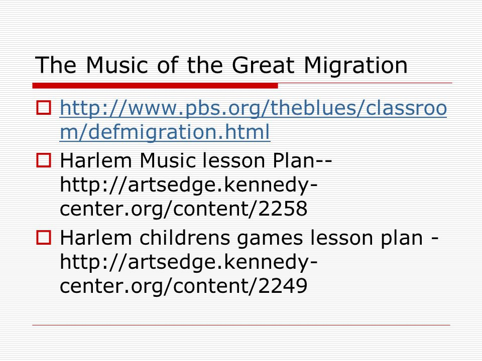 The Music of the Great Migration