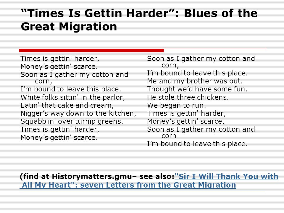 Times Is Gettin Harder : Blues of the Great Migration