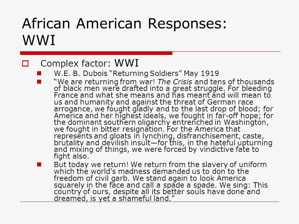African American Responses: WWI