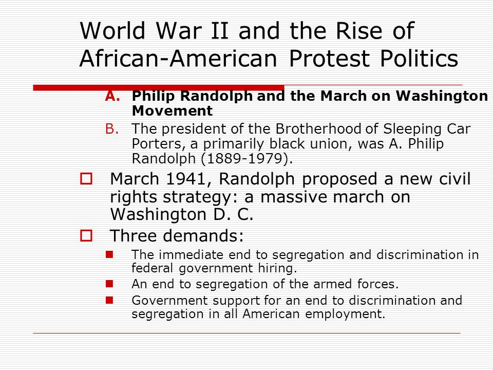 World War II and the Rise of African-American Protest Politics