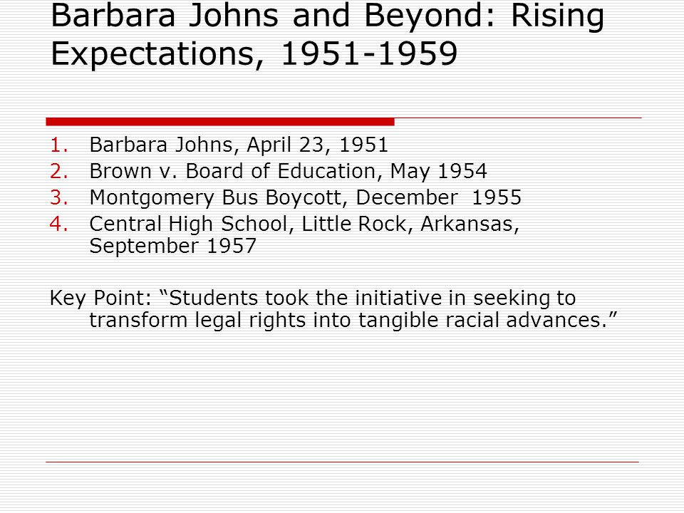 Barbara Johns and Beyond: Rising Expectations, 1951-1959