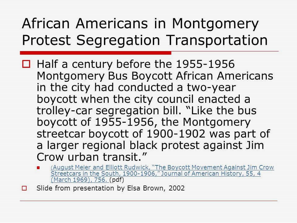 African Americans in Montgomery Protest Segregation Transportation