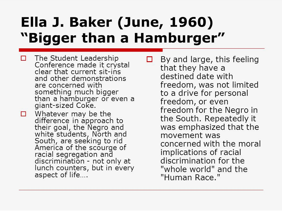 Ella J. Baker (June, 1960) Bigger than a Hamburger