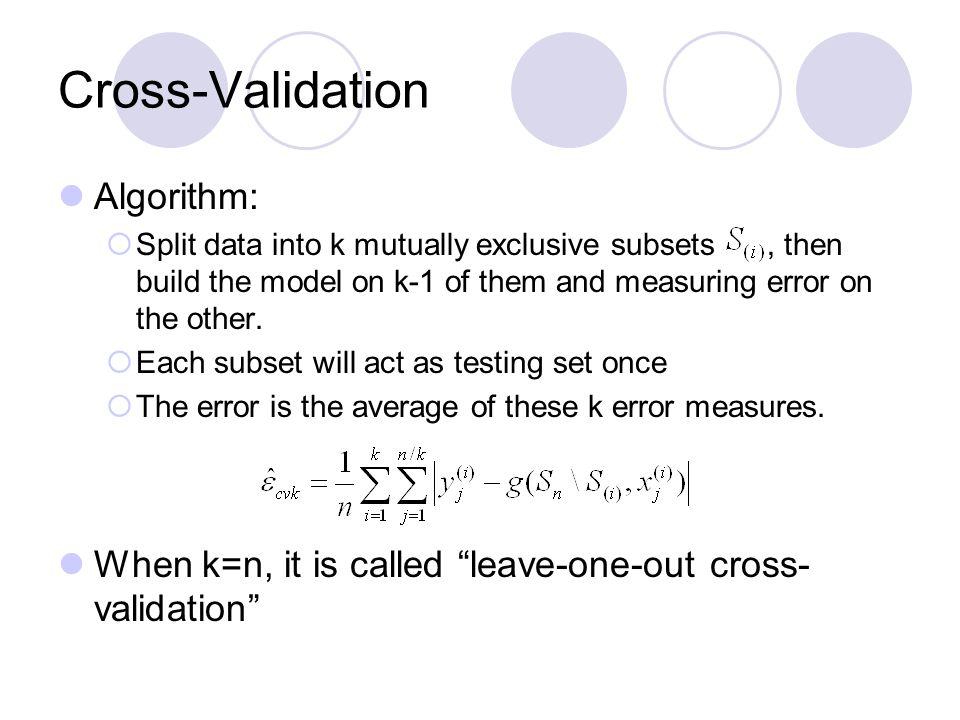 Cross-Validation Algorithm: