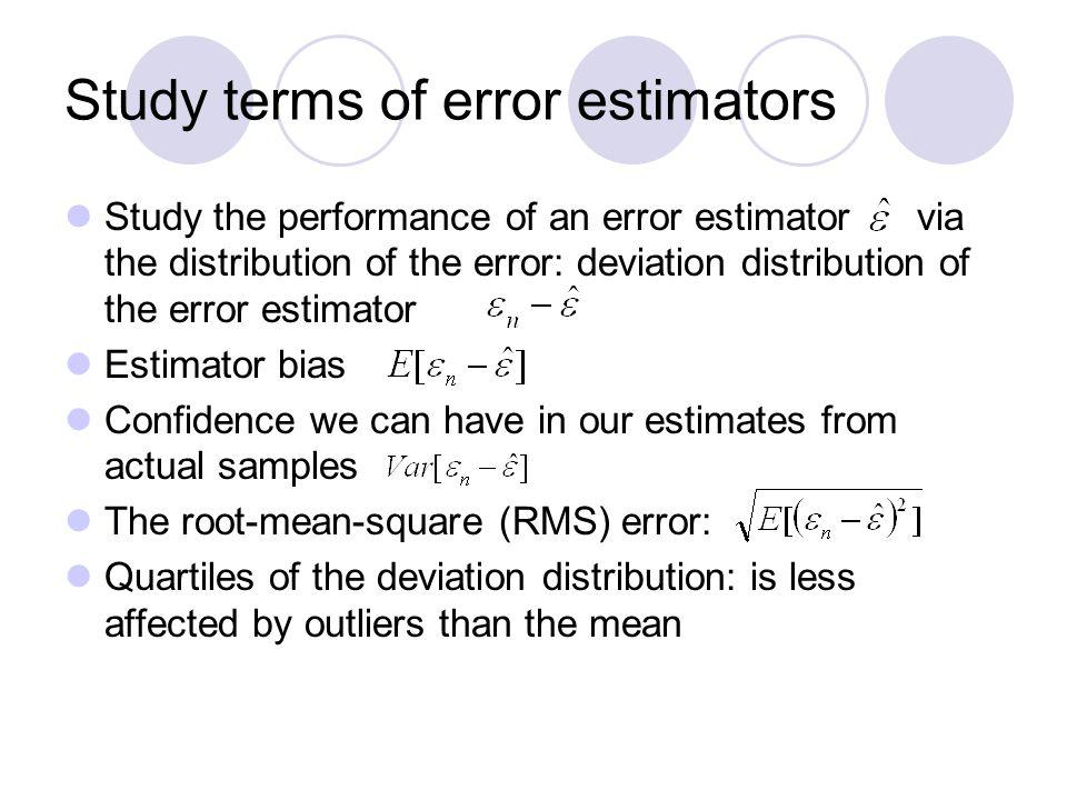 Study terms of error estimators