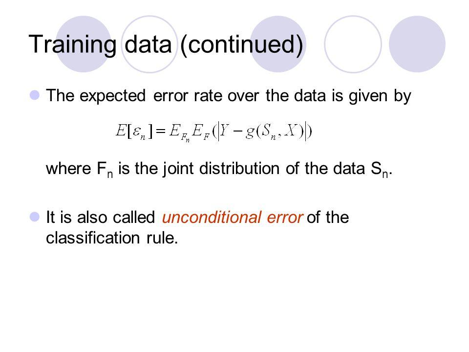 Training data (continued)