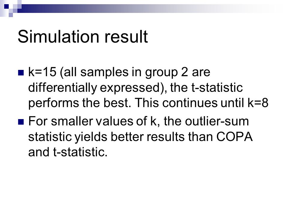 Simulation result k=15 (all samples in group 2 are differentially expressed), the t-statistic performs the best. This continues until k=8.