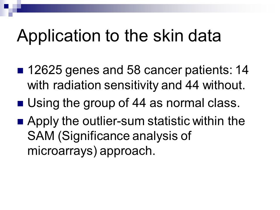 Application to the skin data