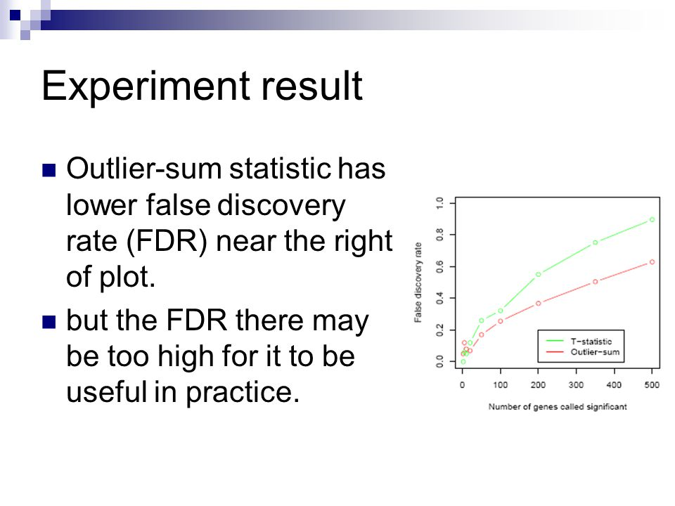 Experiment result Outlier-sum statistic has lower false discovery rate (FDR) near the right of plot.