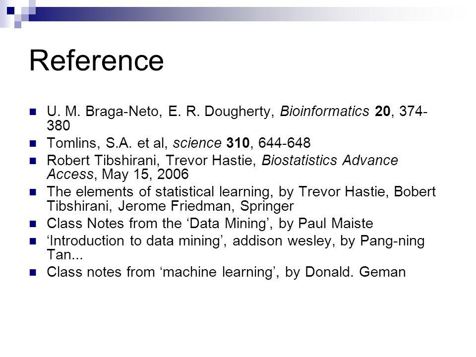Reference U. M. Braga-Neto, E. R. Dougherty, Bioinformatics 20, 374-380. Tomlins, S.A. et al, science 310, 644-648.