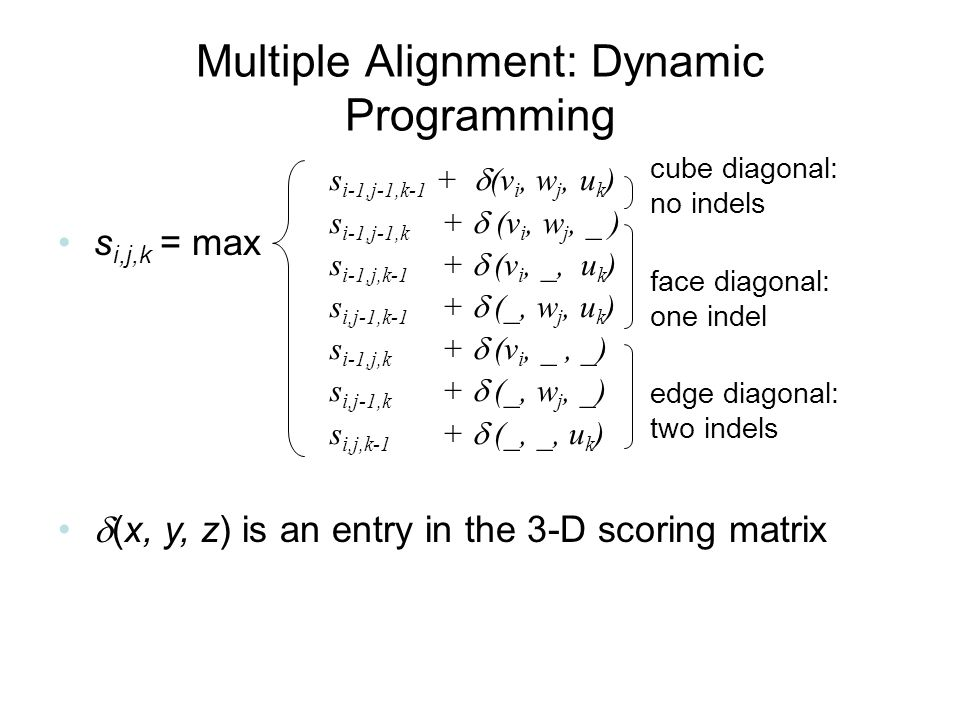 Multiple Alignment: Dynamic Programming