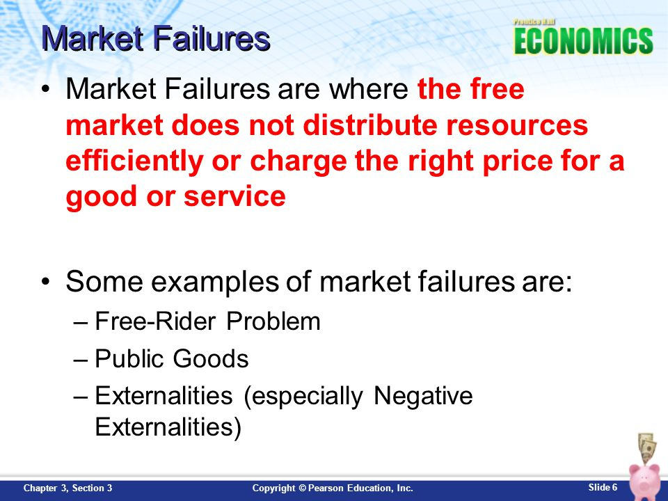 Market Failures Market Failures are where the free market does not distribute resources efficiently or charge the right price for a good or service.