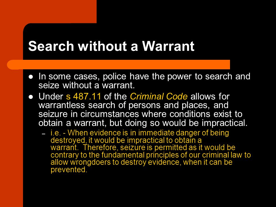 Search without a Warrant