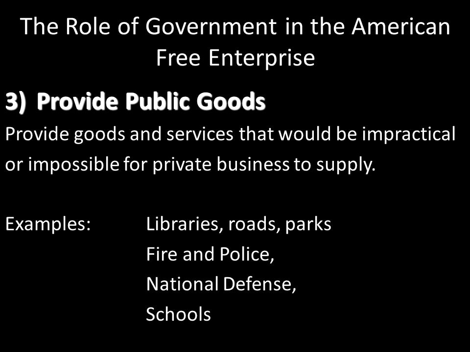 The Role of Government in the American Free Enterprise