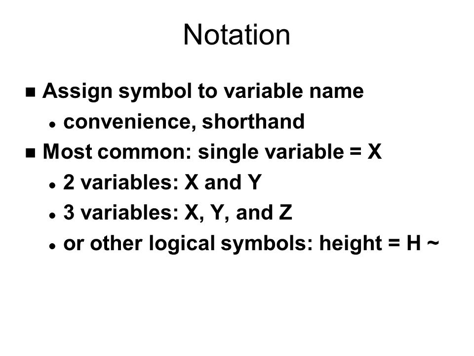 Notation Assign symbol to variable name convenience, shorthand