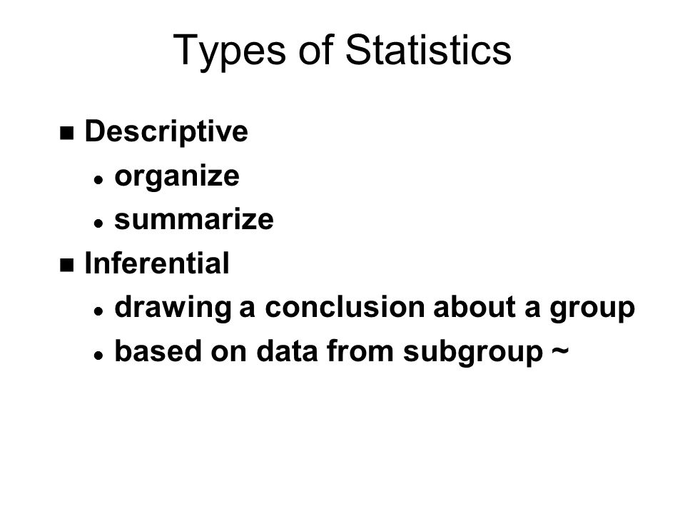 Types of Statistics Descriptive organize summarize Inferential