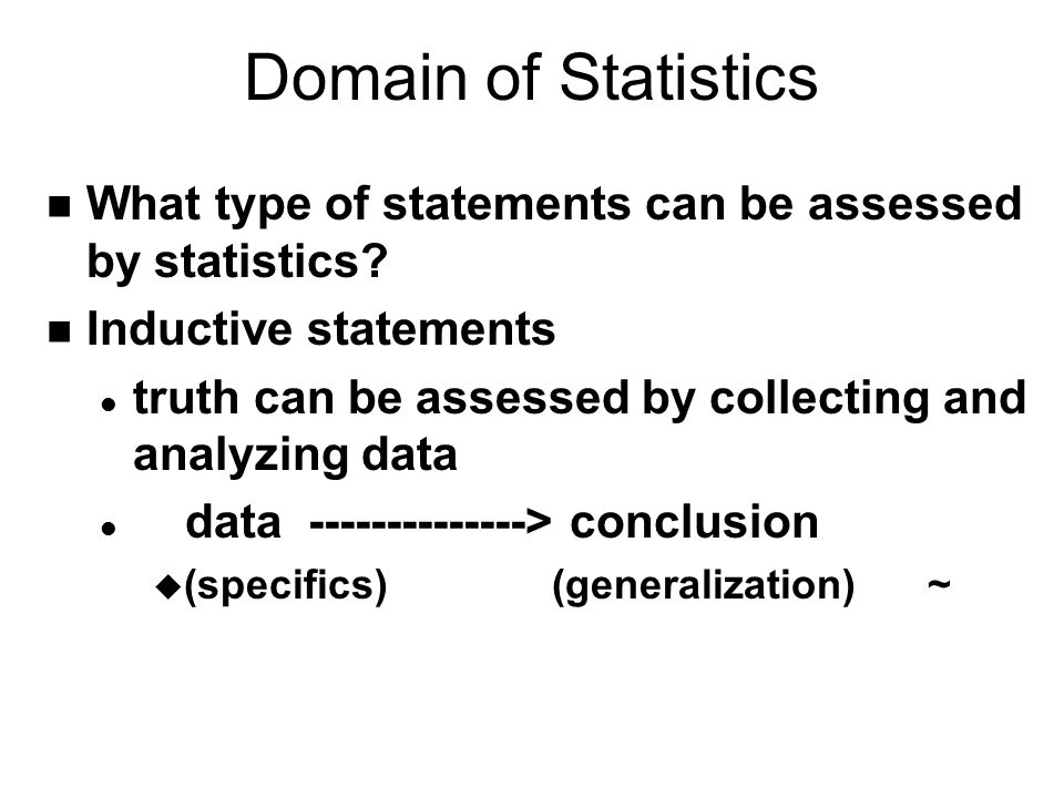 Domain of Statistics What type of statements can be assessed by statistics Inductive statements.