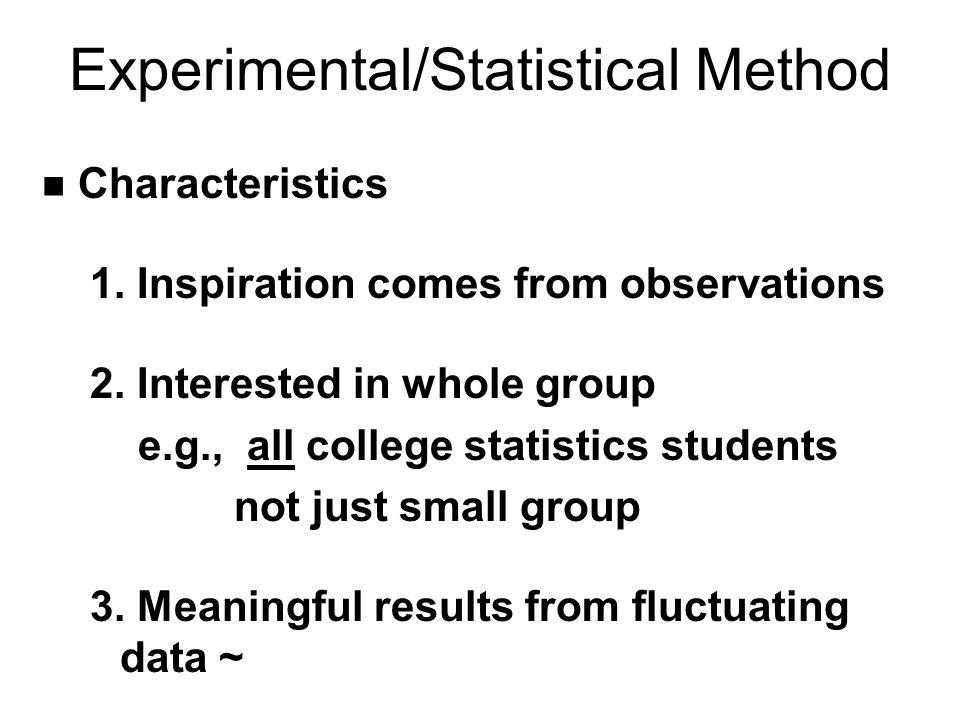 Experimental/Statistical Method