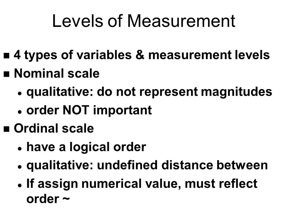 Levels of Measurement 4 types of variables & measurement levels
