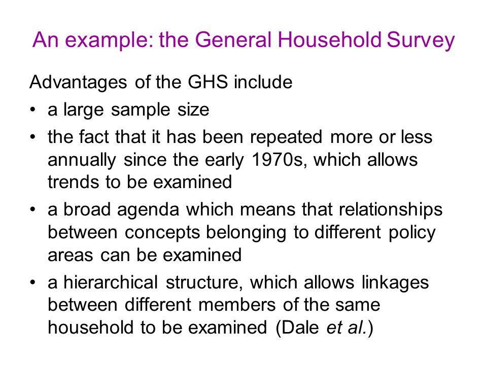 An example: the General Household Survey