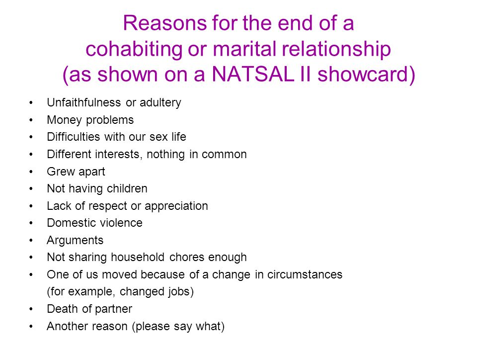Reasons for the end of a cohabiting or marital relationship (as shown on a NATSAL II showcard)