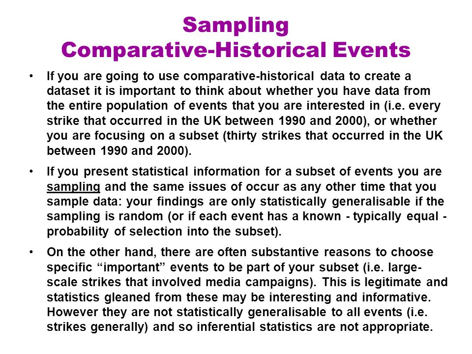 Sampling Comparative-Historical Events