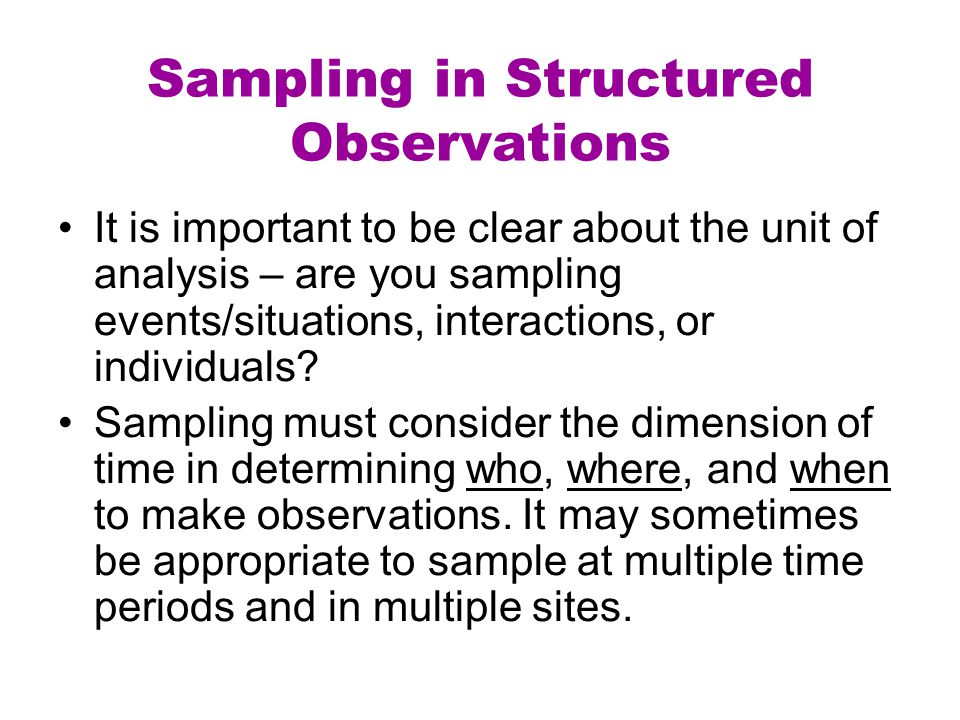 Sampling in Structured Observations