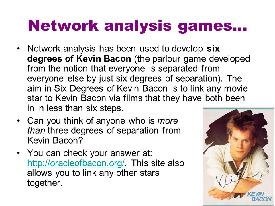 Network analysis games…