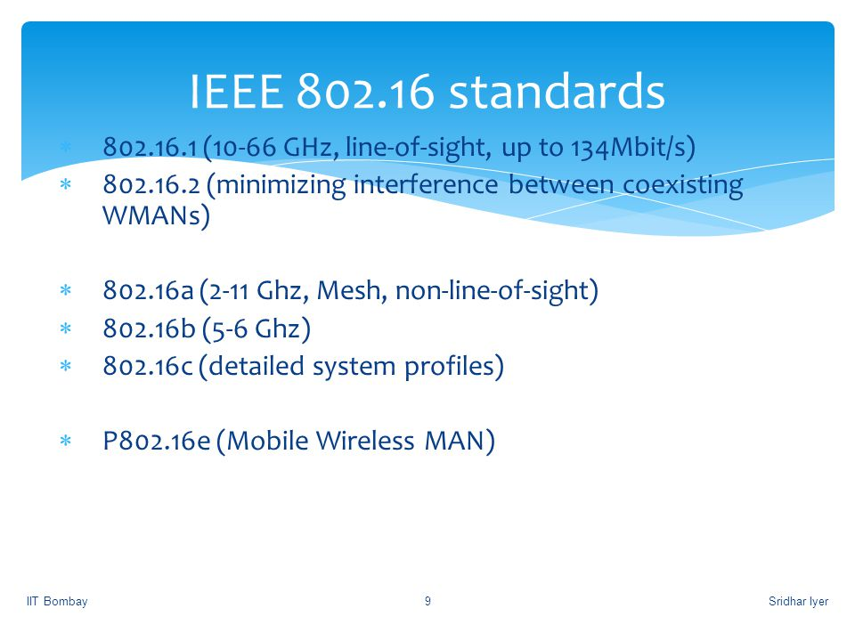 IEEE 802.16 standards 802.16.1 (10-66 GHz, line-of-sight, up to 134Mbit/s) 802.16.2 (minimizing interference between coexisting WMANs)