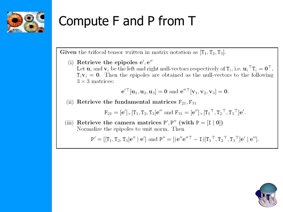 Compute F and P from T